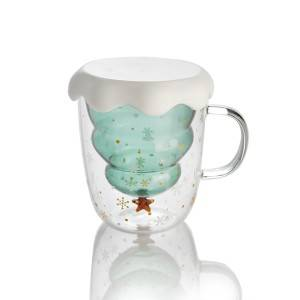 Christmas Tree Glass Double Cup With Handle