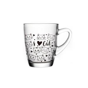 glass mug with cat decal