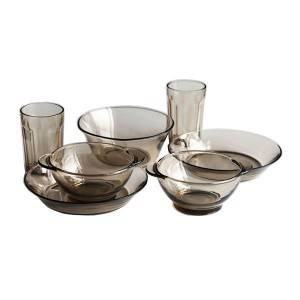 Set of 7 pieces of tempered tinted tableware