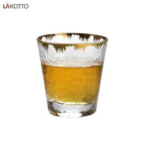 hammer glass tumbler with gold rim