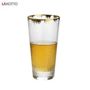 350ml hammer glass tumbler with gold rim