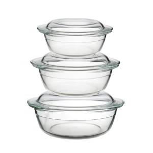 2200ml-1000ml glass casserole with cover