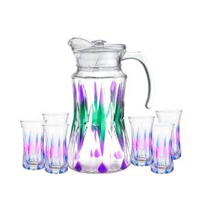 China wholesale Mason Jar With Pump Head - 1pc glass jug and 6pcs glass cup set with color spray – Kotto