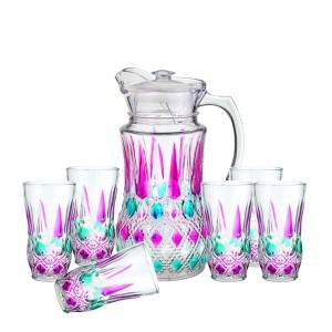 Hot New Products Mason Jars Tumblr - 1pc glass jug and 6pcs glass cup set with color spray – Kotto