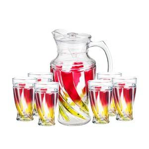 2019 High quality Glass Candy Jar - 1pc glass jug and 6pcs glass cup set with color spray – Kotto