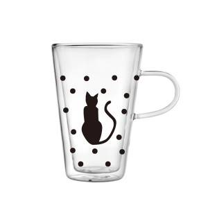380ml Double wall glass mug with cat decal