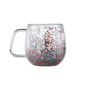 double wall glass mug with sequins,interesting glass cup