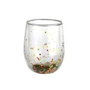 double wall glass cup with sequins