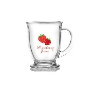 440ml Strawberry decal glass handle cup