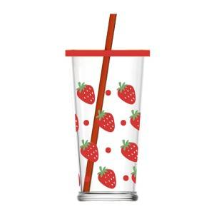 470ml Cute strawberry decal glass cup