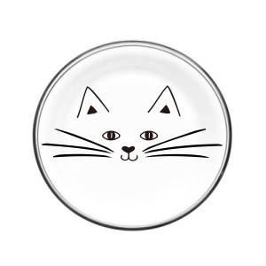glass plate with cat decal