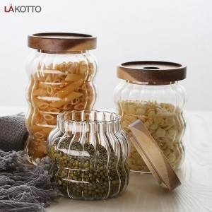 Good Quality Promotion Glass - High borosilicate glass jar with solid wood lid – Kotto