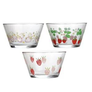 High Quality Kitchen Glassware - Strawberry pattern glass bowl – Kotto