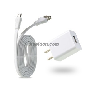 Single USB2.4A Travel charger with 1M Lightning cable RP-U14(US/CN/EU) White