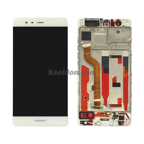 LCD Complete With Frame For Huawei P9 oi White Featured Image