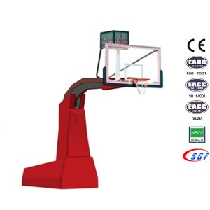 Top Quality Portable Glass Backboard Hydraulic Match Basketball System