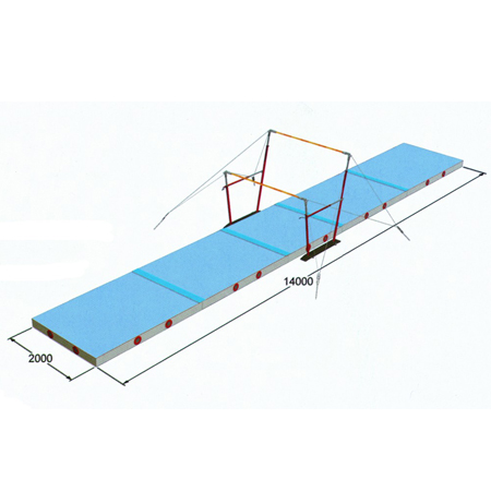 Gymnastics Uneven Bars System With Landing Mat For Sale