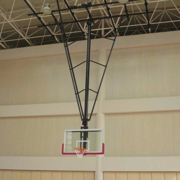 Indoor Tempered Glass Basketball Suspender Backboard Ceiling Mounted Basketball Goals