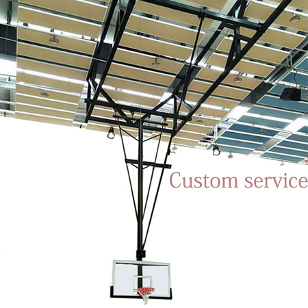 Indoor Tempered Glass Basketball Suspender Backboard Ceiling Mounted Basketball hoop