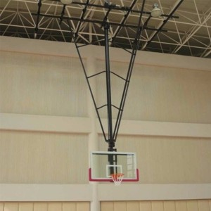 Ceiling Mounting Basketball Backstop Hoop with Tempered Glass Backboard