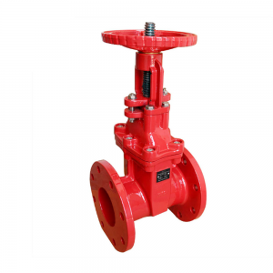 Riser rod elastic seat open rod fire gate valve