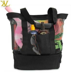 Custom Fashion Mesh Beach Bag Insulated Picnic Cooler Bag