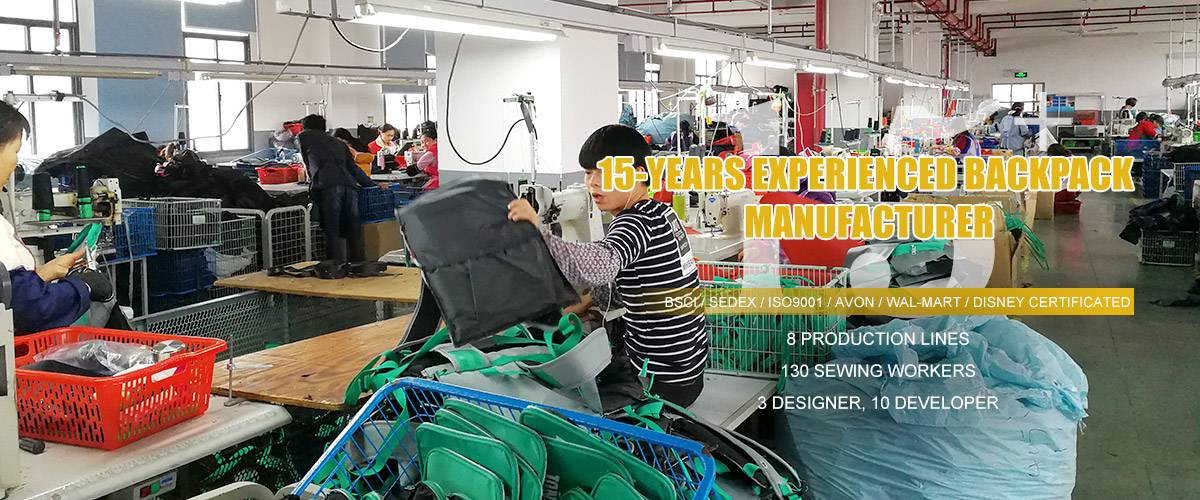 15-YEARS EXPERIENCED BACKPACK  MANUFACTURER
