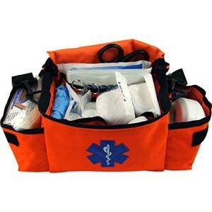 Red heavy duty emergency rescue nurse pouch, medical carry case
