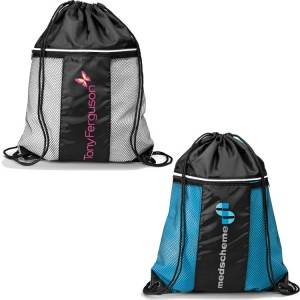 Polyester or Nylon Sport Drawstring Gym bag, Gym sack drawstring bag with mesh pocket
