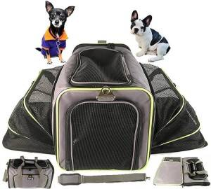 Expandable pet carrier airline approved, soft sided Foldable dog bag for carry on Luggage