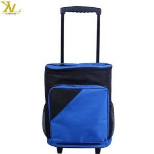 Wheeled insulated picnic cooler bag