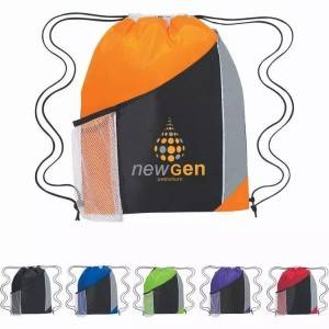 BSCI factory Promotion Draw string Sport Bags, Tri-color Drawstring Sport Pack