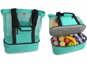 Quanzhou factory cheap beach cooler, customized mesh beach bag