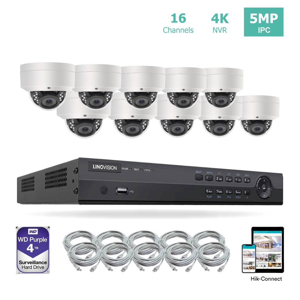 16ch 4K NVR KIT with 10pcs 5MP IP Dome Cameras