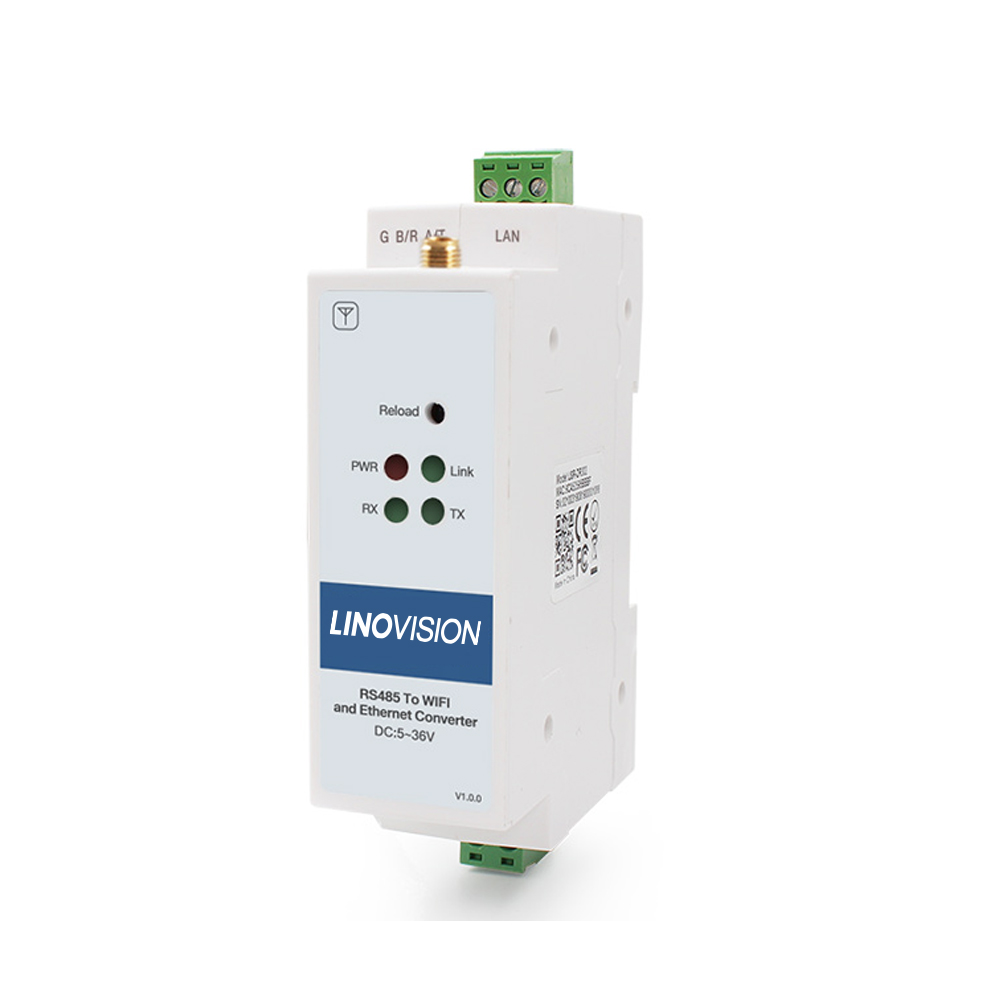 Serial Device Server to Convert 1-Port RS485 to Ethernet/Wi-Fi with DIN Rail Mounting