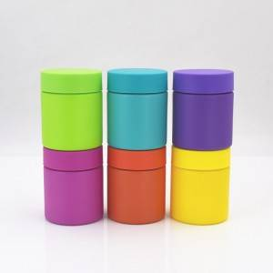 colored 4oz child proof jar with child resistant lid