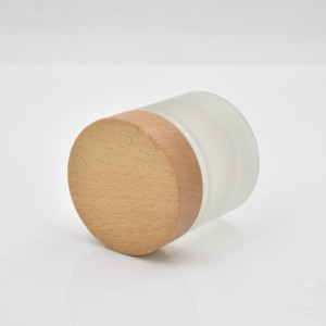 eco-friendly 100g Cosmetic packaging round  frosted glass cream jar 100ml with wooden cap