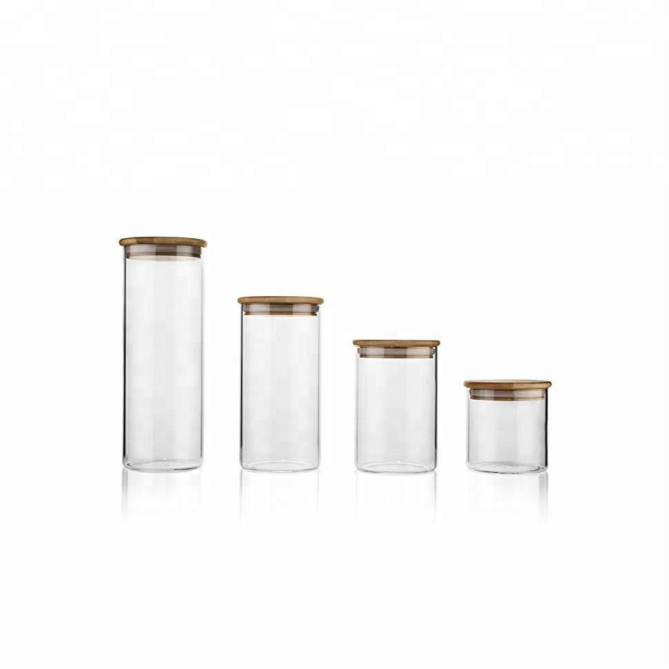 Airtight Glass Storage Jars with Bamboo Lids