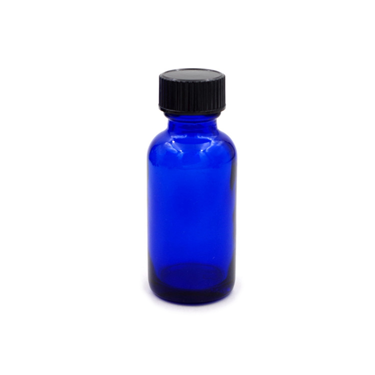 30ml 1 oz Cobalt Blue Boston Round Glass Bottles with Airtight Cap