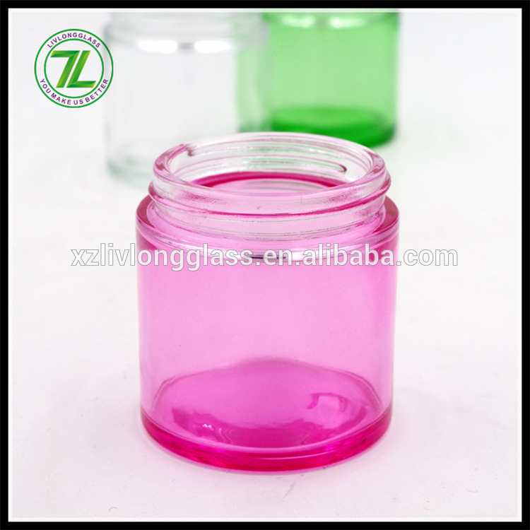 pink color 90ml straight side jar 3oz glass jar with black cap