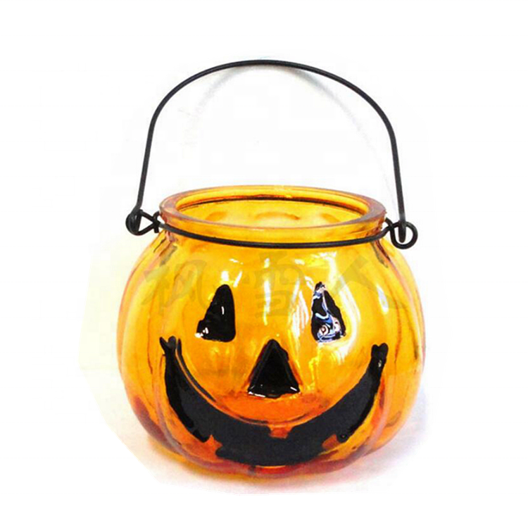 Fancy Cute Smile Face Orange Pumpkin Lamp Glass Candle Jars with Wire Holder