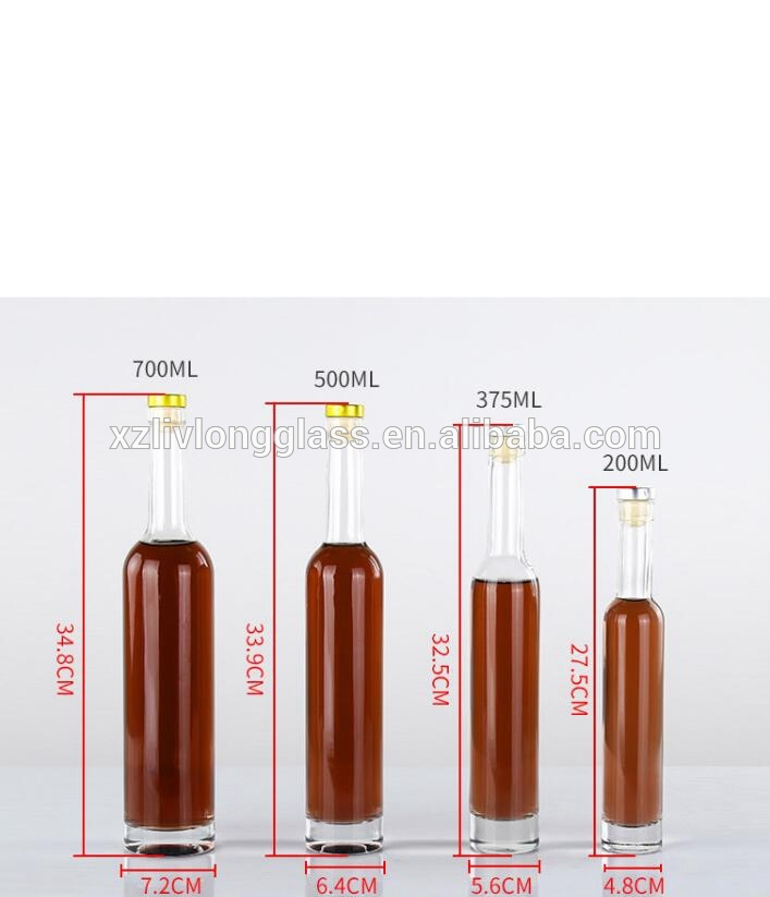 200ml 375ml 500ml 700ml Clear Transparent Ice Wine Glass Bottles with Corks