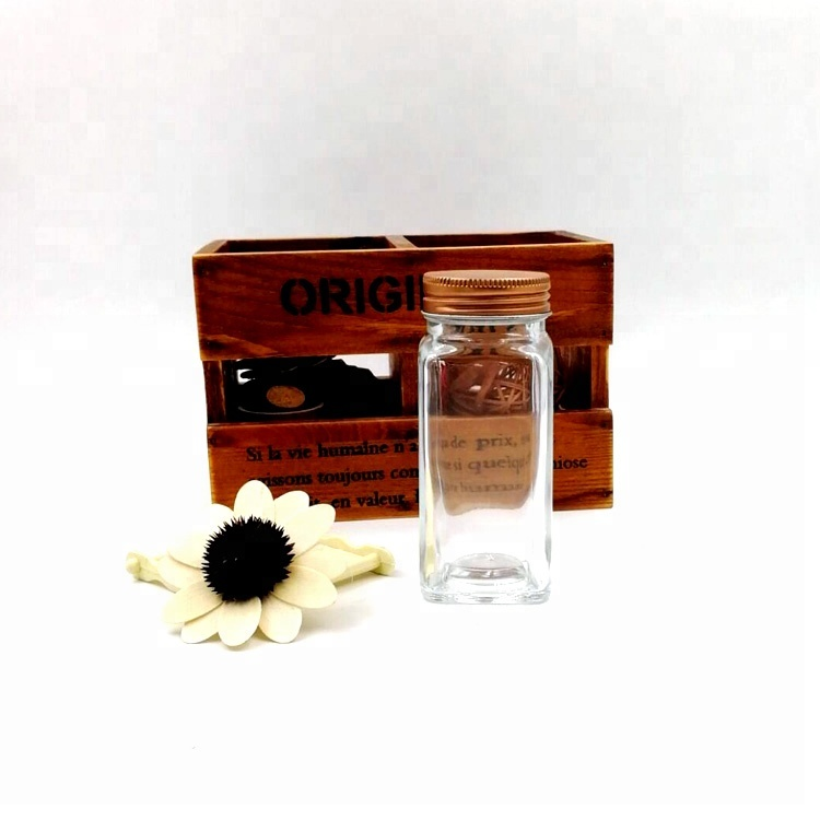 customize 120ml chilli powder bottle 4oz glass square spice jar with copper-colored lids Featured Image