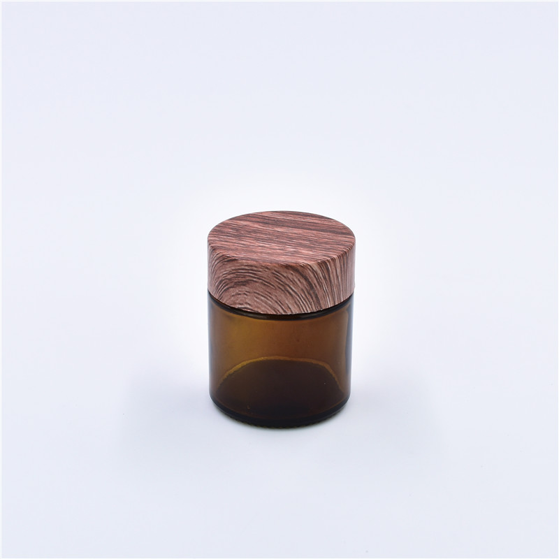 2oz Amber UV Children Resistant Glass Container Weeds Jars Childproof Glass Jar With Black Childproof Wooden Grain Lids