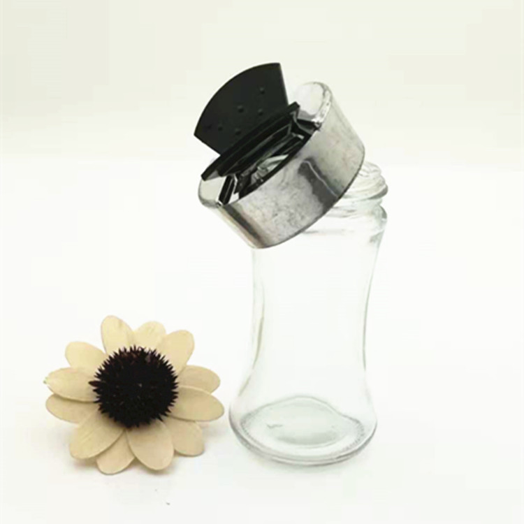 60ml 2oz clear wholesale empty spice pepper glass jar with plastic butterfly double mouth lid for salt dispenser