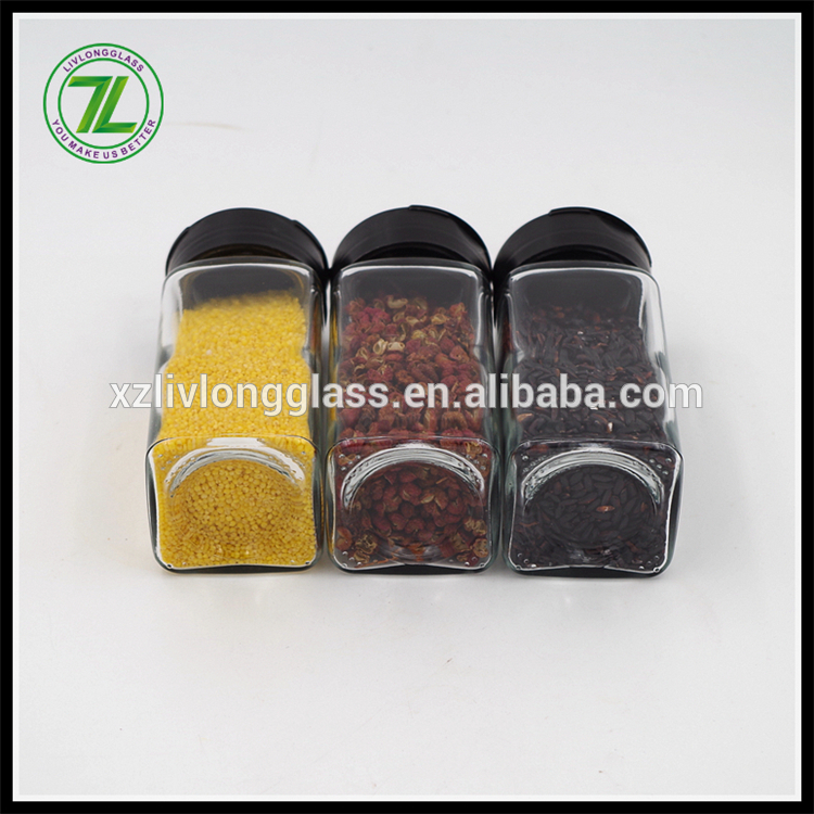 120ml paprika flakes bottle 4oz square glass spices jars with shaker holes and pour holes