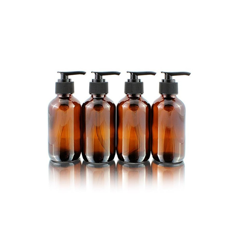 4oz Amber Glass Boston Round Bottles With Pump For Liquid Soap Lotion Shampoo Featured Image