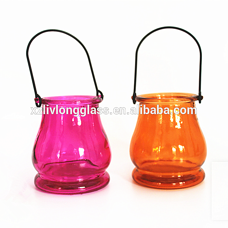 Factory directly Storage Clip Top Jar - hot sale 300ml Fancy Colorful Glass Candle Jar with Wire Handle – LIVLONG