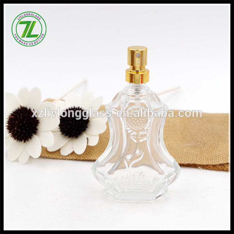 35ml flower embossed shape Glass Perfume Bottles