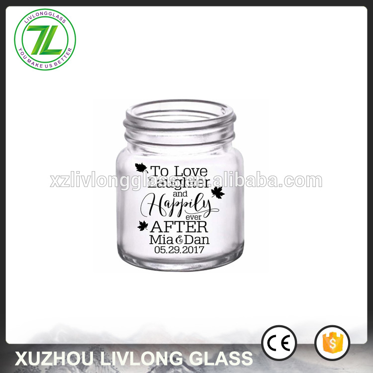 custom design 50ml round container 2oz empty mini glass jars with lids